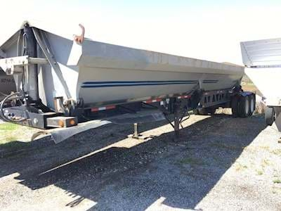2007 Circle R Side Dump Trailer - Steel Box, Fixed Tandem Axle, Electric Tarp